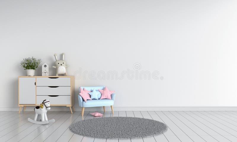 Sofa in white child room interior, 3D rendering stock illustration