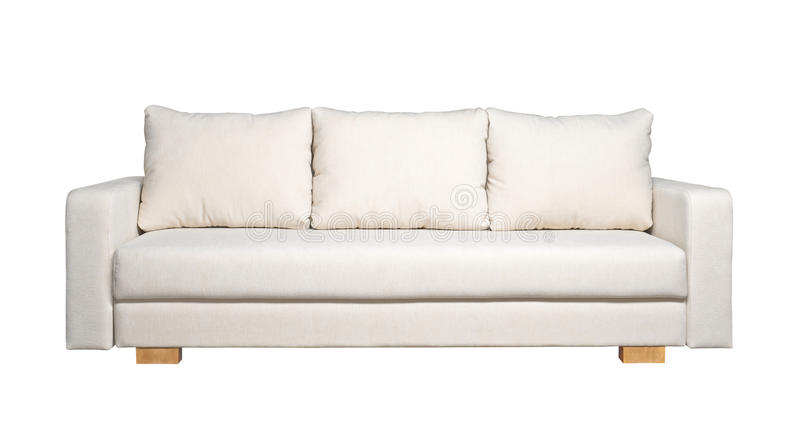 Sofa with white fabric upholstery (front view). A sofa with white fabric upholstery isolated on white background stock image