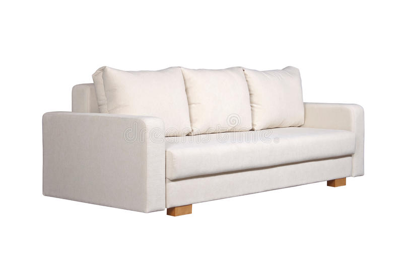Beau Download Sofa With White Fabric Upholstery (side View) Stock Photo   Image  Of Cushion