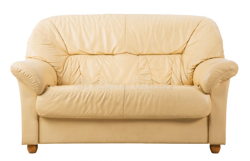 Sofa on White, Leather Couch front view royalty free stock images