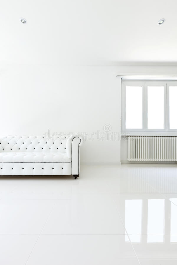 Sofa in white room. Interior, leather sofa in white room stock photos
