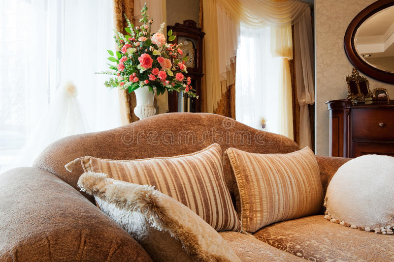 Download Sofa at a window stock photo. Image of flower, clean, cushion - 9629554