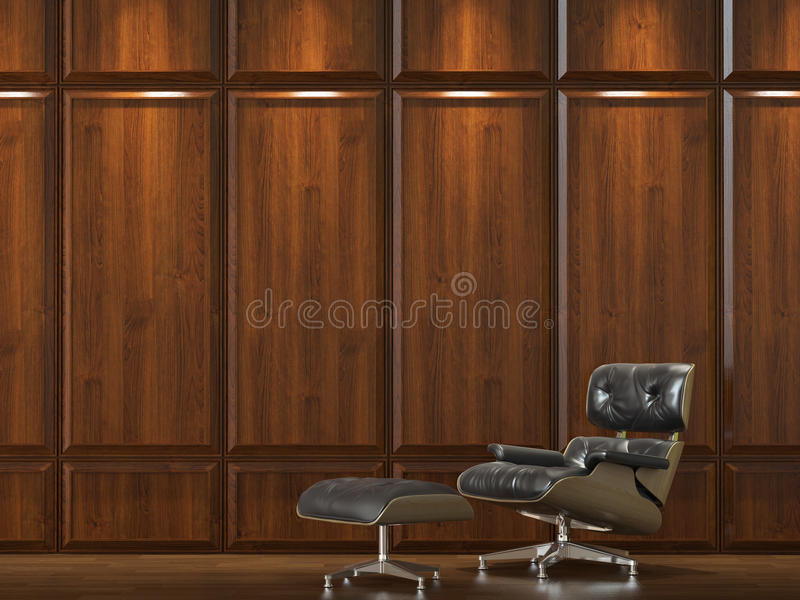 Sofa on wood cladding wall. Interior design of dark wood cladding wall with a comfortable leather sofa vector illustration