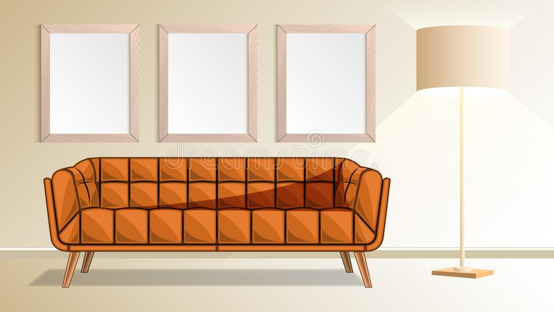Sofa, wooden frames on wall and floor lamp in living room. Brown couch, wooden frames on wall and floor lamp in living room.  Modern interior design Vector vector illustration