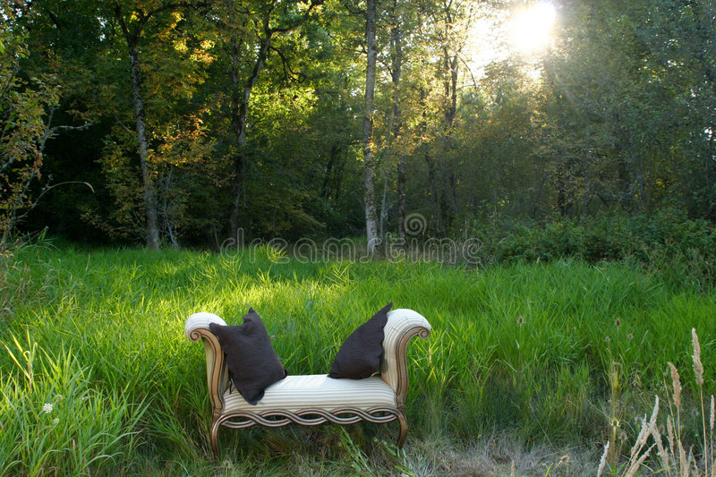 Sofa In The Woods Stock Photos