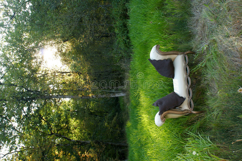 Sofa in the woods royalty free stock image