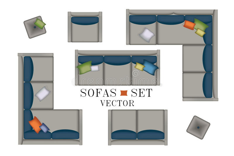 Sofas Armchair Set. Furniture, Pouf, Carpet, TV, Plants, Side Table for Your Interior Design. Flat Vector Illustration. Top View. Scene Creator. Grey color royalty free illustration