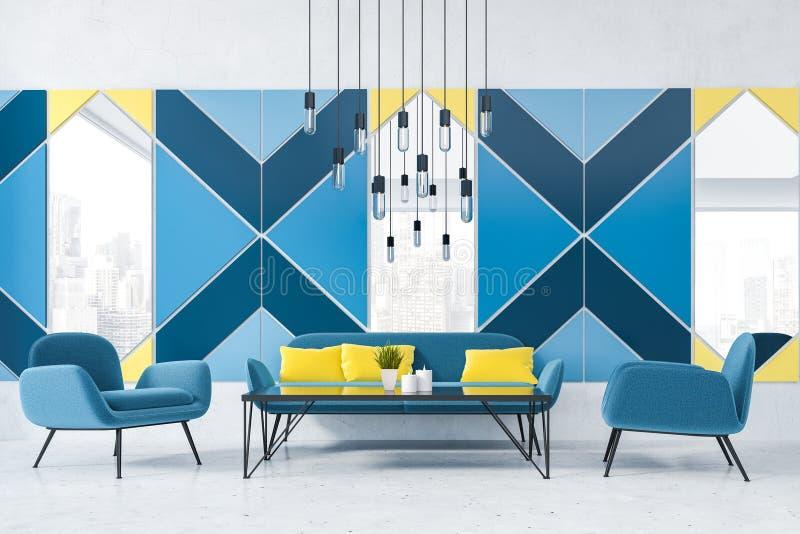 Sofas dans l'intérieur bleu de café illustration stock