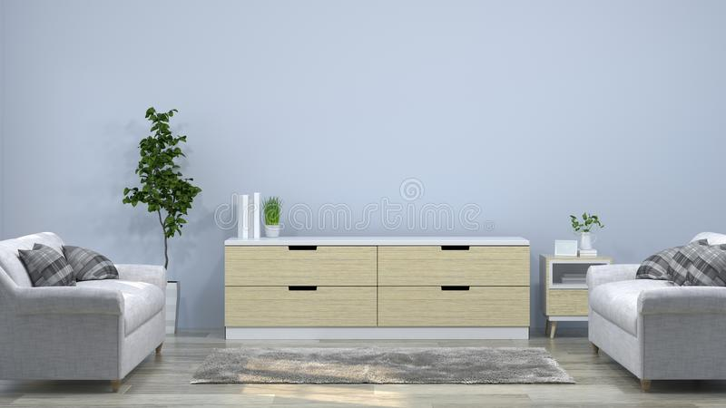 Sofas, Tv cabinet in the room 3d illustration furniture,modern home designs,background shelves and books on the desk in front of e. Mpty wall royalty free illustration