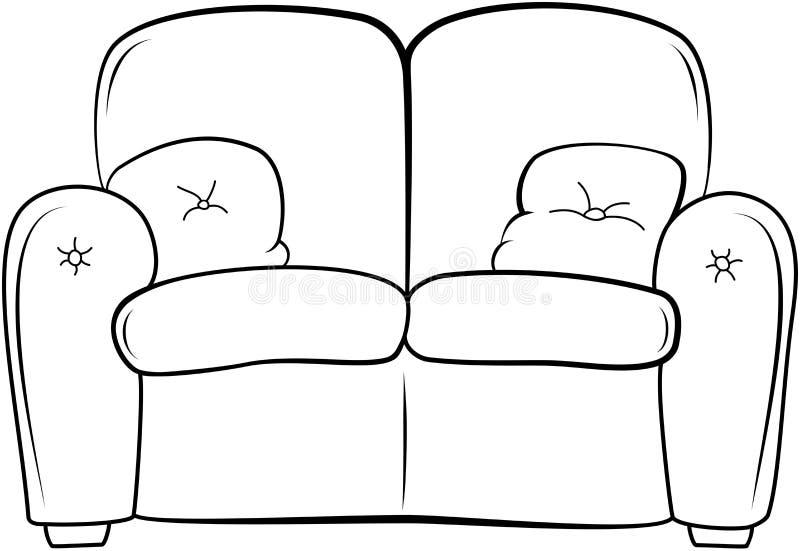 Soffaöversiktsillustration exponeringsbärbar datorlampa skissar stil royaltyfri illustrationer