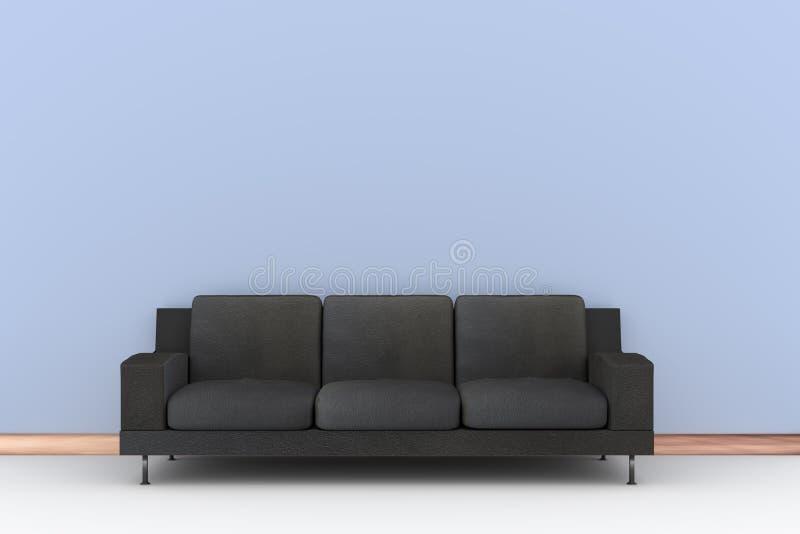 soffa för svart 3d och blåttvägg royaltyfri fotografi