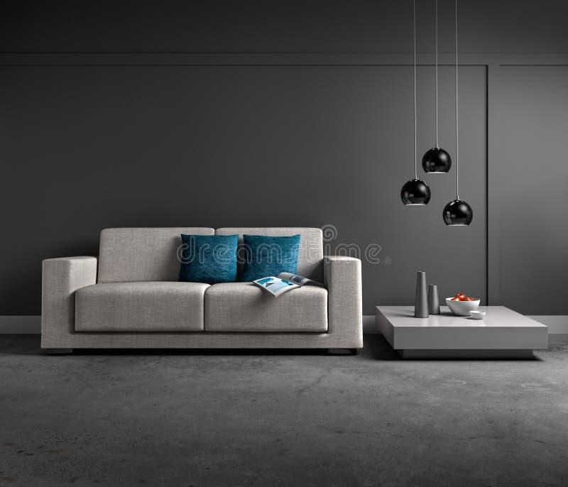 Soffa i en modern mörk vardagsrum royaltyfri illustrationer