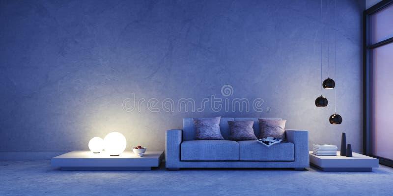 Soffa i ett modernt mörkt - blå vardagsrum royaltyfri illustrationer