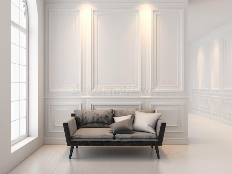 Soffa i klassisk vit inre 3D framför upp inreåtlöje royaltyfri foto