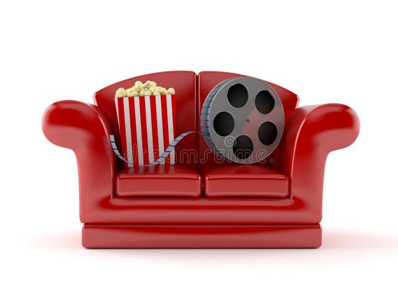 Soffa med den verkliga popcorn och filmen royaltyfri illustrationer