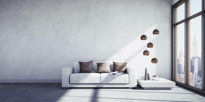 Soffa med kuddar i en modern vardagsrum vektor illustrationer