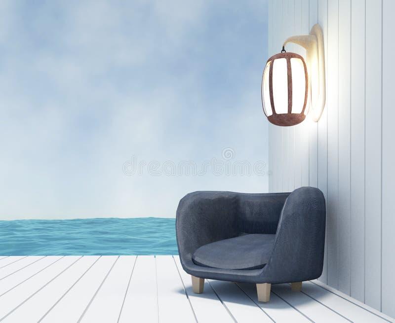 Soffa med lampan på seaview i tolkningen 3D stock illustrationer