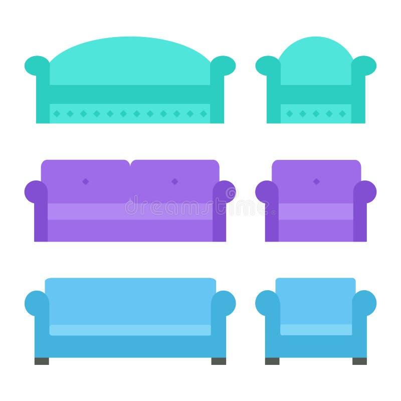 Soffa- och fåtöljuppsättning stock illustrationer