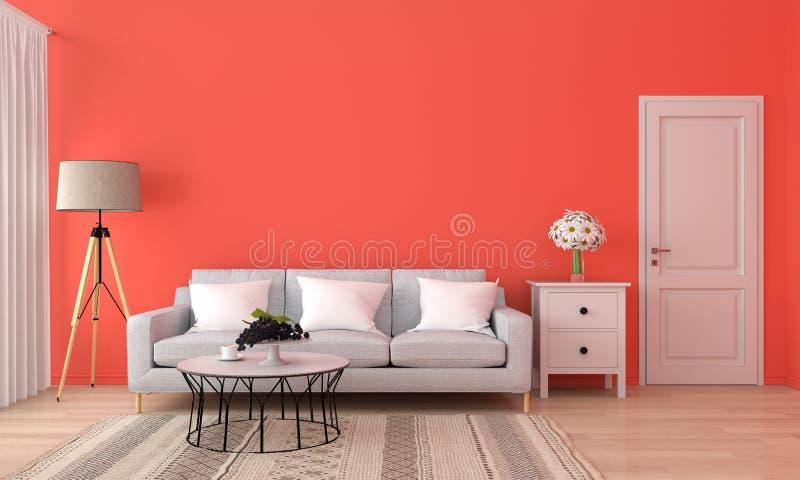 Soffa och tabell i orange vardagsrum, tolkning 3D stock illustrationer