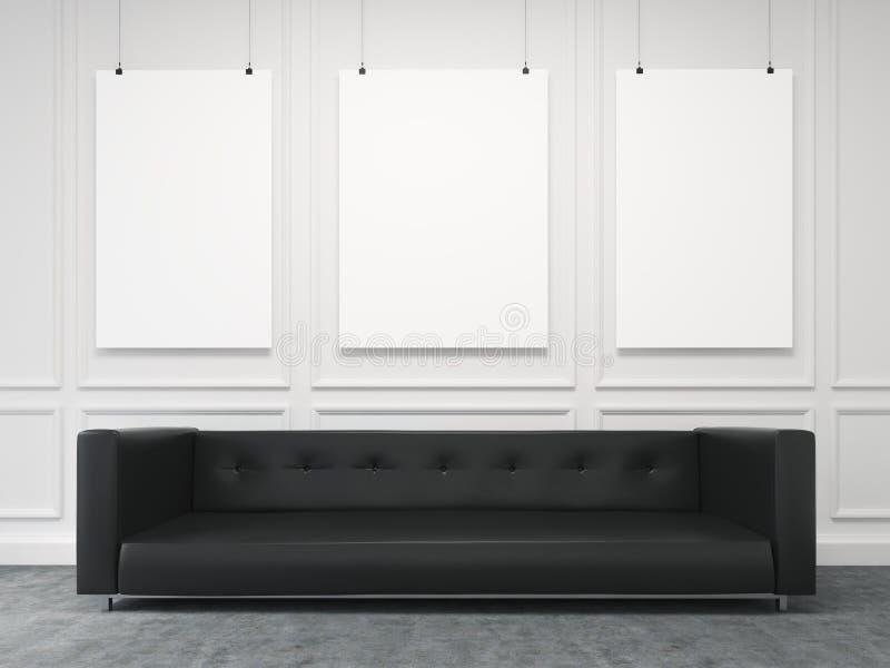 Soffa på väggen Bekläda beskådar vektor illustrationer