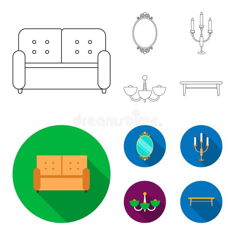 Soffa spegel, ljusstake, ljuskrona FurnitureFurniture ställde in samlingssymboler i översikten, materiel för symbol för lägenhets royaltyfri illustrationer