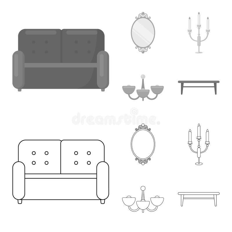 Soffa spegel, ljusstake, ljuskrona FurnitureFurniture ställde in samlingssymboler i översikten, monokromt stilvektorsymbol stock illustrationer