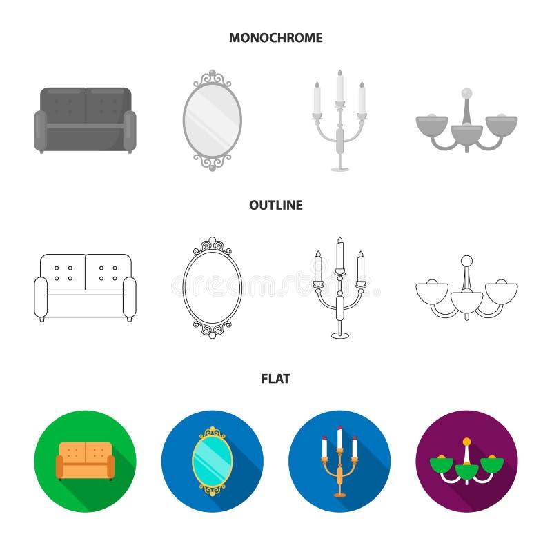 Soffa spegel, ljusstake, ljuskrona FurnitureFurniture ställde in samlingssymboler i lägenheten, översikten, monokrom stilvektor vektor illustrationer