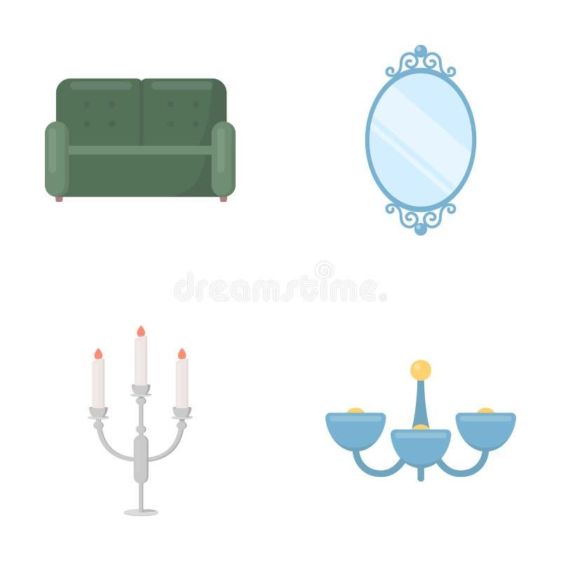 Soffa spegel, ljusstake, ljuskrona FurnitureFurniture ställde in samlingssymboler i materiel för symbol för tecknad filmstilvekto royaltyfri illustrationer