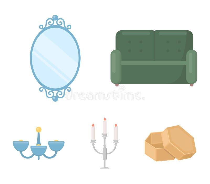 Soffa spegel, ljusstake, ljuskrona FurnitureFurniture ställde in samlingssymboler i materiel för symbol för tecknad filmstilvekto vektor illustrationer