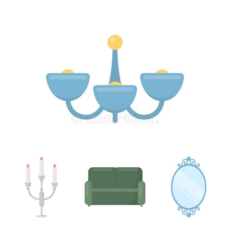 Soffa spegel, ljusstake, ljuskrona FurnitureFurniture ställde in samlingssymboler i materiel för symbol för tecknad filmstilvekto stock illustrationer