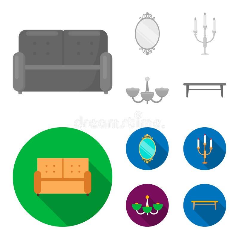 Soffa spegel, ljusstake, ljuskrona FurnitureFurniture ställde in samlingssymboler i monokrom, symbol för lägenhetstilvektor vektor illustrationer
