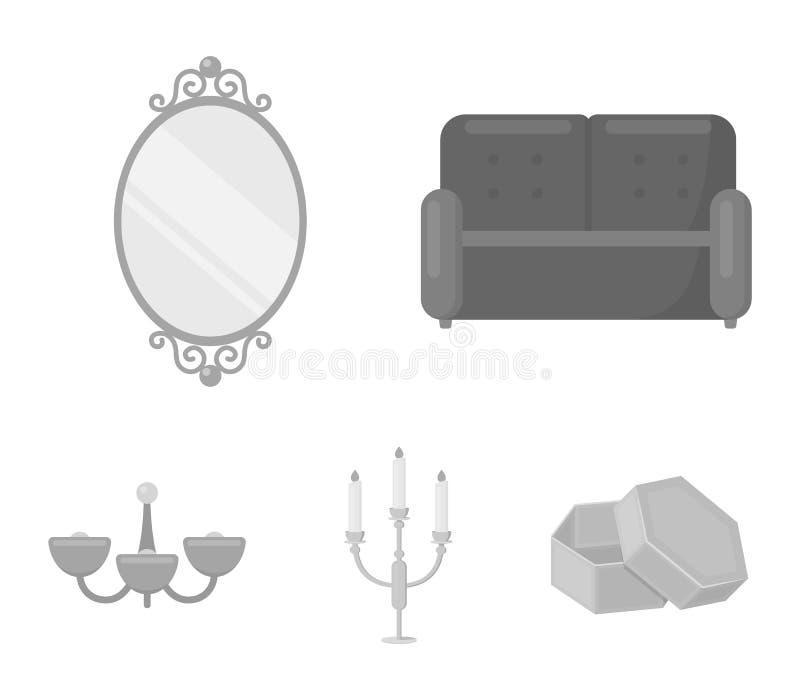 Soffa spegel, ljusstake, ljuskrona FurnitureFurniture ställde in samlingssymboler i monokromt materiel för stilvektorsymbol royaltyfri illustrationer