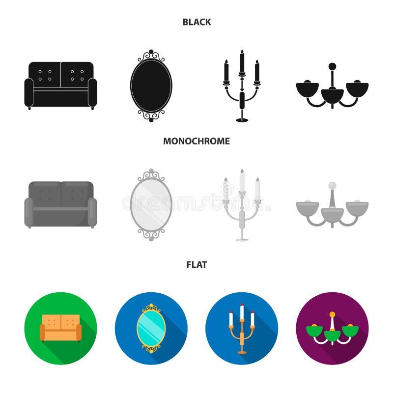 Soffa spegel, ljusstake, ljuskrona FurnitureFurniture ställde in samlingssymboler i svart, lägenheten, monokrom stilvektor vektor illustrationer