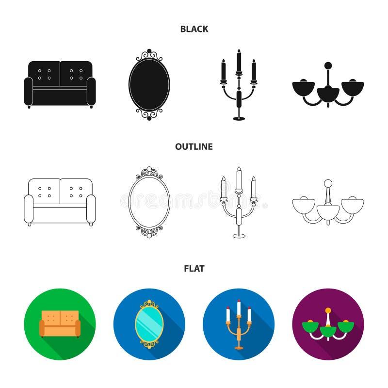 Soffa spegel, ljusstake, ljuskrona FurnitureFurniture ställde in samlingssymboler i svart, lägenheten, symbol för översiktsstilve royaltyfri illustrationer