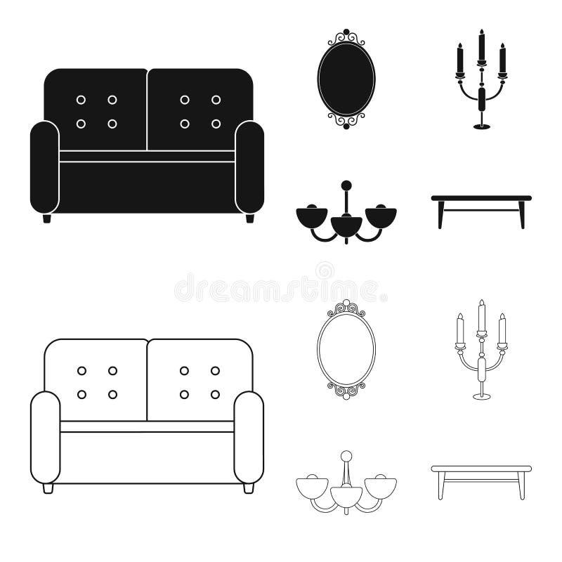 Soffa spegel, ljusstake, ljuskrona FurnitureFurniture ställde in samlingssymboler i svart, materiel för symbol för översiktsstilv royaltyfri illustrationer
