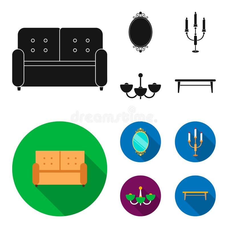 Soffa spegel, ljusstake, ljuskrona FurnitureFurniture ställde in samlingssymboler i svart, materiel för symbol för lägenhetstilve vektor illustrationer