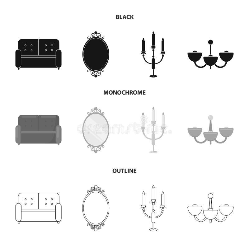 Soffa spegel, ljusstake, ljuskrona FurnitureFurniture ställde in samlingssymboler i svart, monokrom, översiktsstilvektor vektor illustrationer
