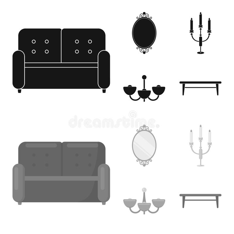 Soffa spegel, ljusstake, ljuskrona FurnitureFurniture ställde in samlingssymboler i svart, monokromt stilvektorsymbol royaltyfri illustrationer