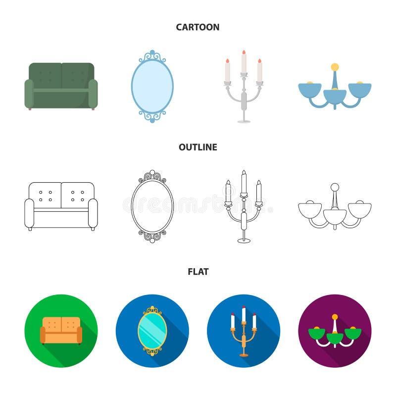 Soffa spegel, ljusstake, ljuskrona FurnitureFurniture ställde in samlingssymboler i tecknade filmen, översikten, lägenhetstilvekt royaltyfri illustrationer