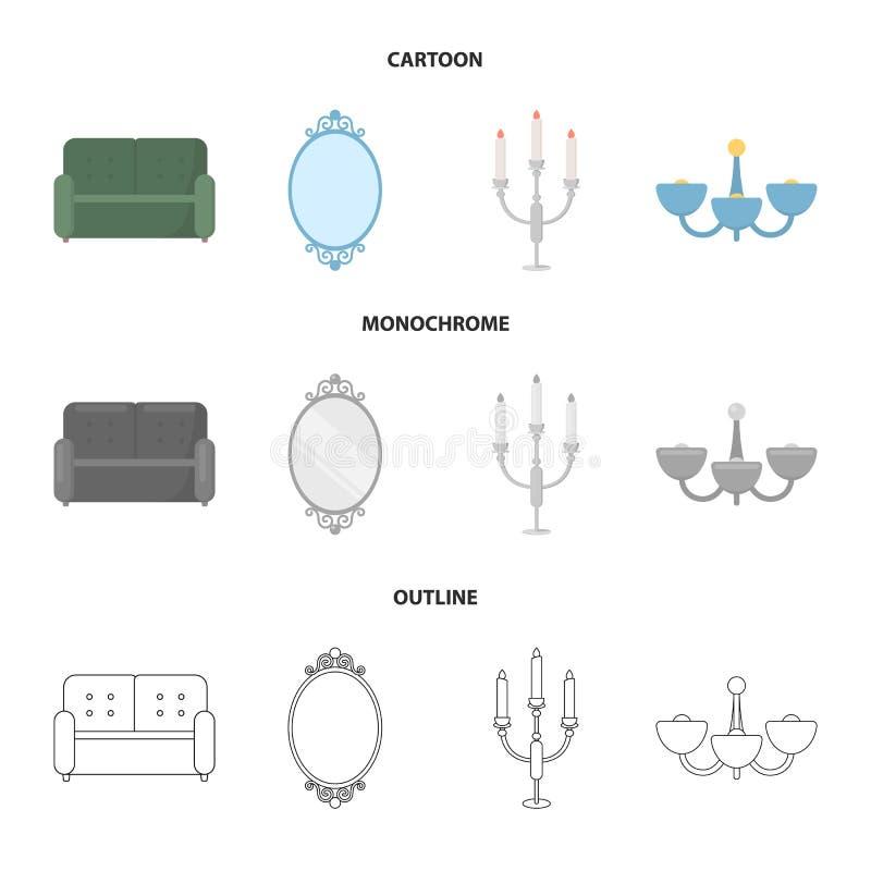 Soffa spegel, ljusstake, ljuskrona FurnitureFurniture ställde in samlingssymboler i tecknade filmen, översikten, monokrom stilvek royaltyfri illustrationer