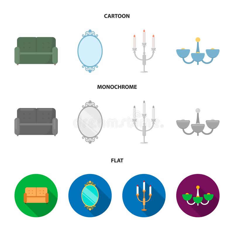 Soffa spegel, ljusstake, ljuskrona FurnitureFurniture ställde in samlingssymboler i tecknade filmen, lägenheten, monokrom stilvek stock illustrationer