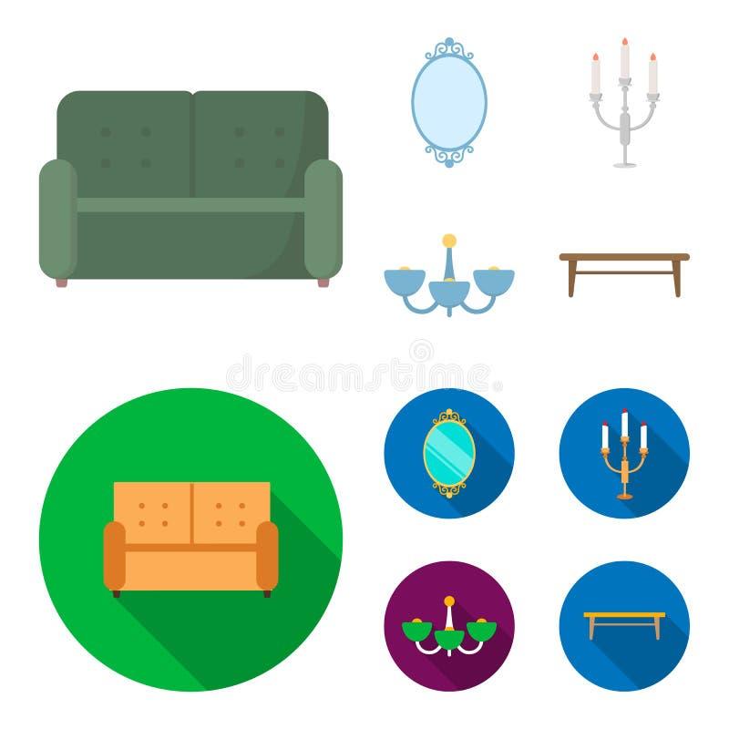Soffa spegel, ljusstake, ljuskrona FurnitureFurniture ställde in samlingssymboler i tecknade filmen, materiel för symbol för läge royaltyfri illustrationer