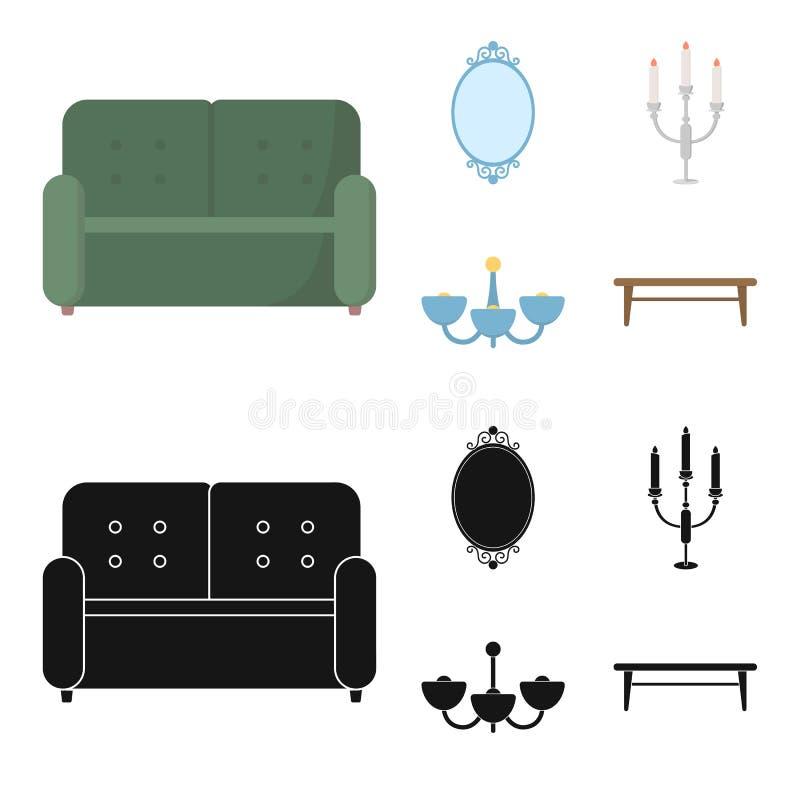 Soffa spegel, ljusstake, ljuskrona FurnitureFurniture ställde in samlingssymboler i tecknade filmen, materiel för symbol för svar royaltyfri illustrationer