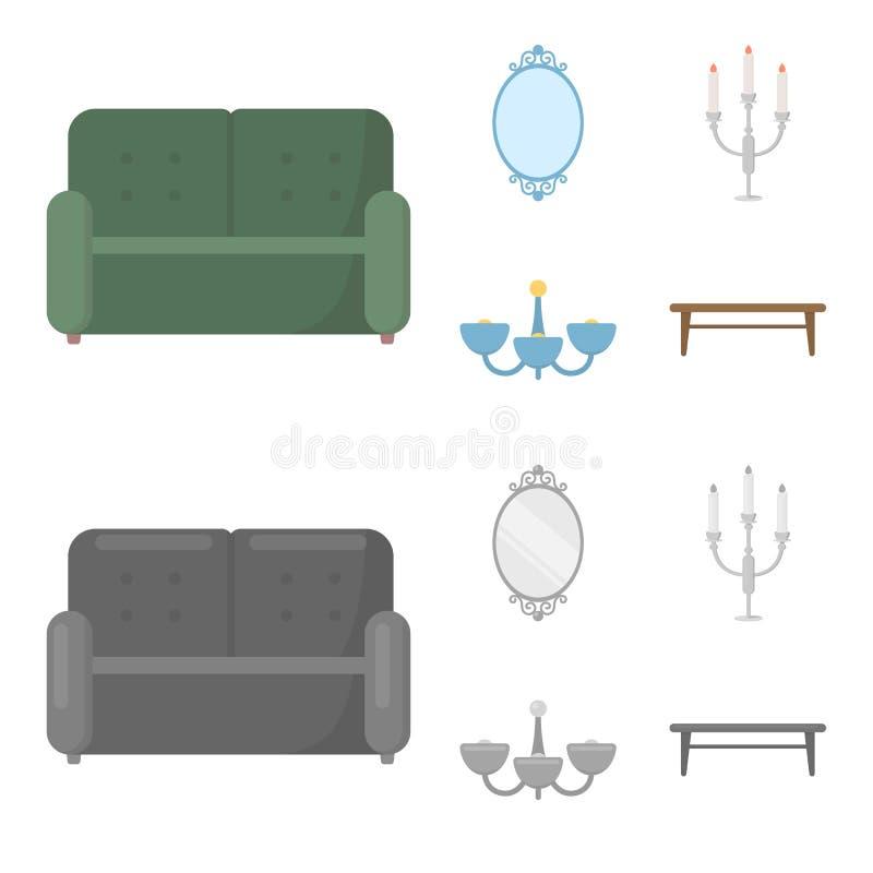 Soffa spegel, ljusstake, ljuskrona FurnitureFurniture ställde in samlingssymboler i tecknade filmen, monokromt stilvektorsymbol royaltyfri illustrationer
