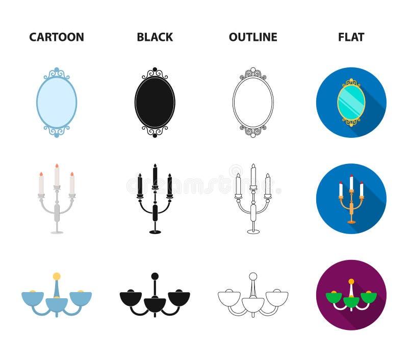 Soffa spegel, ljusstake, ljuskrona FurnitureFurniture ställde in samlingssymboler i tecknade filmen, svart, översikten, lägenhets vektor illustrationer