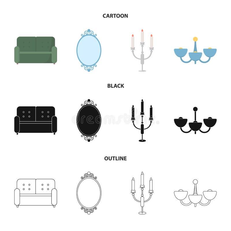 Soffa spegel, ljusstake, ljuskrona FurnitureFurniture ställde in samlingssymboler i tecknade filmen, svart, översiktsstilvektor vektor illustrationer