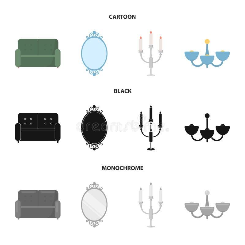 Soffa spegel, ljusstake, ljuskrona FurnitureFurniture ställde in samlingssymboler i tecknade filmen, svart, monokrom stilvektor vektor illustrationer