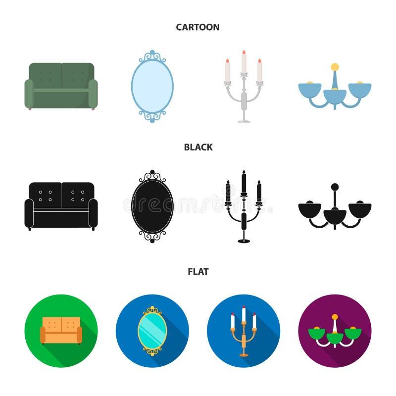 Soffa spegel, ljusstake, ljuskrona FurnitureFurniture ställde in samlingssymboler i tecknade filmen, svart, symbol för lägenhetst stock illustrationer