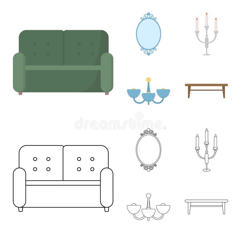 Soffa spegel, ljusstake, ljuskrona FurnitureFurniture ställde in samlingssymboler i tecknade filmen, symbol för översiktsstilvekt royaltyfri illustrationer