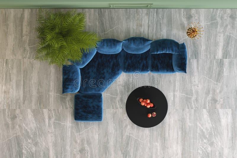 Soffa, växter och lampor royaltyfri illustrationer